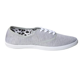 View Item Grey Canvas Lace Up Flat Shoe